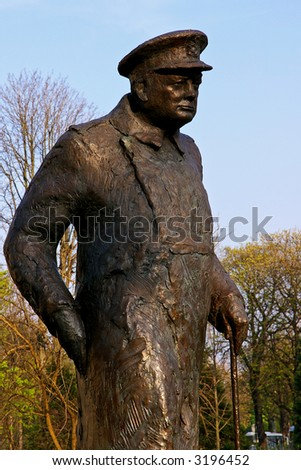 Old bronze statue of Sir Winston Churchill in Paris