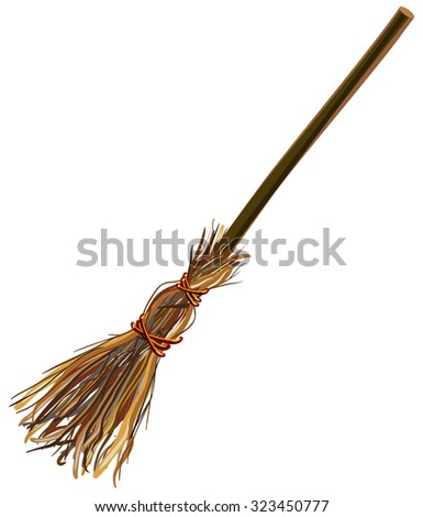 Old broom. Halloween accessory object. Isolated illustration