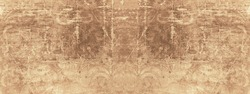 Old brown beige vintage worn shabby patchwork motif tiles stone concrete cement wall texture background banner