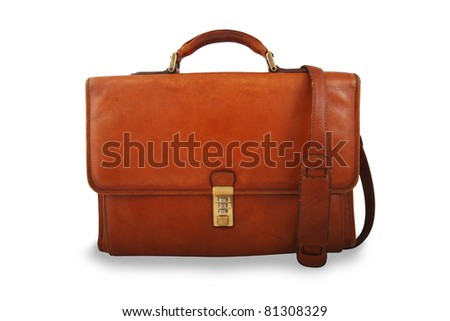 Old brown briefcase with shoulder strap isolated on white
