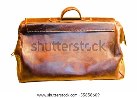 Old brown doctors bag isolated with clipping path