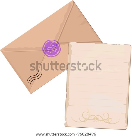 Old brown envelope and paper for letter with lines