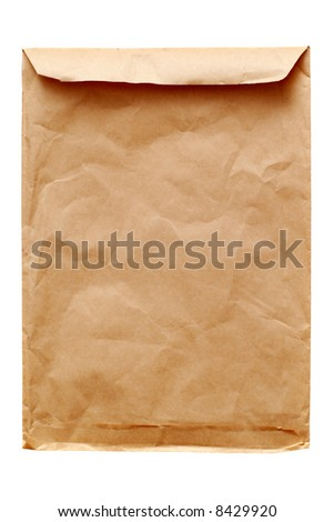 Old brown envelope isolated on white