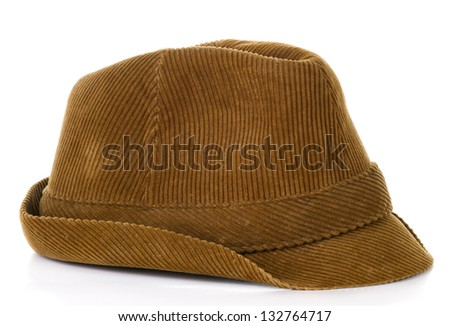 Old brown hat on isolated on white background