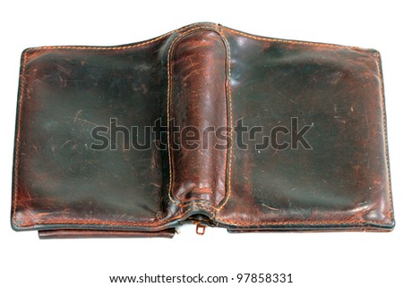 Old  brown leather purse  on white background