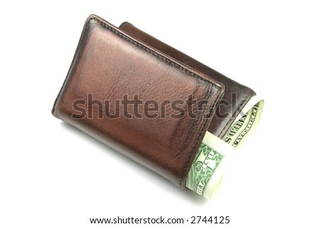 Old brown leather wallet with a dollar bill sticking out, isolated on white.