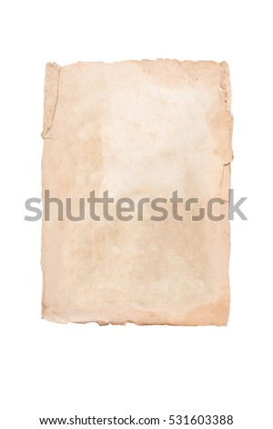 Old brown page on a white background. Isolated - Shutterstock ID 531603388