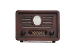 Old brown radio, retro radio without background