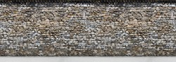 Old brown  stone wall with part of the road. Horizontal Seamless pattern.