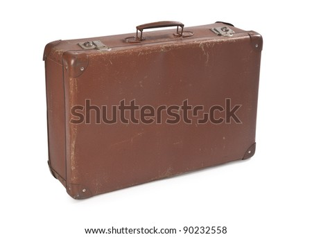 old brown suitcase - stock photo