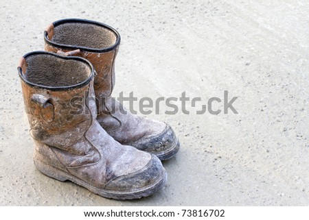Old brown work boots