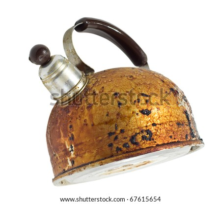 old brown worned kettle isolated on white background - stock photo