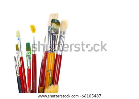 old brushes. isolated on a white