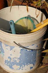 Old buckets used to store miscellaneous items.