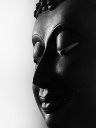 old Buddha face black and white