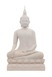 Old Buddha statue made of sandstone isolated on white background