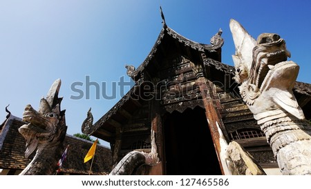 Old Buddhist Sanctuary with King of Nagas, Wat Ton Kwan, Chiang Mai, Thailand.