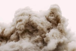 Old building demolition by controlled implosion using explosives aftermath.