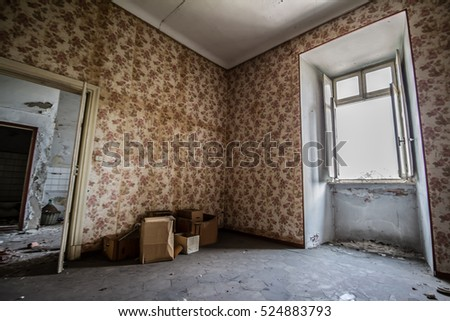 Old Building Destroyed Interior Abandoned House 524883793