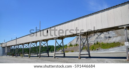 Old building in closed asbestos mine Black Lake (Thetford Mines) Quebec Canada #591446684