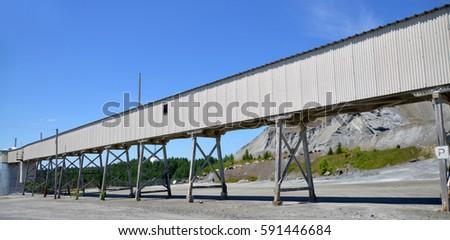 Old building in closed asbestos mine Black Lake (Thetford Mines) Quebec Canada #591446684