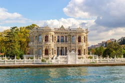 Old building is Littlewater Pavilion on the Bosphorus in Istanbul, Turkey. Construction was completed in 1857