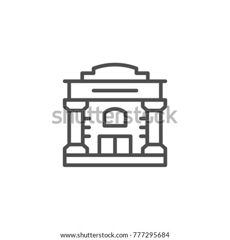 Old building line icon isolated on white