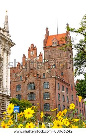 Old building made of bricks near the old Munich Botanical Garden