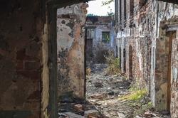 old building ruin interior, damaged brick wall abandoned