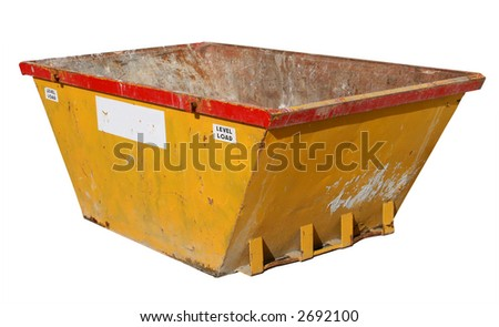 Old building site skip, isolated on a white background. - stock photo