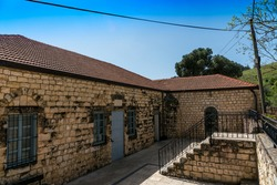 Old buildings at town Rosh Pina-a settlement in northern Israel, Upper Galilee district. Located on the slope of Mount Canaan and laid down on December 12, 1884