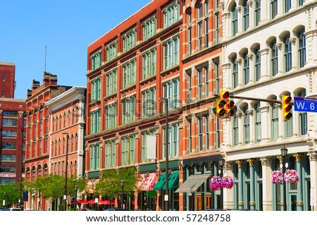 Old buildings in downtown Cleveland's Warehouse District, a trendy new residential and entertainment area
