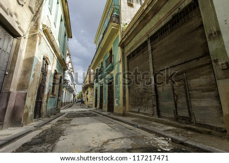 Old buildings in Havana,Cuba - stock photo