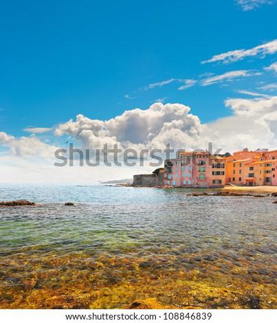 old buildings in Saint Tropez, France, french riviera. mediterranean landscape