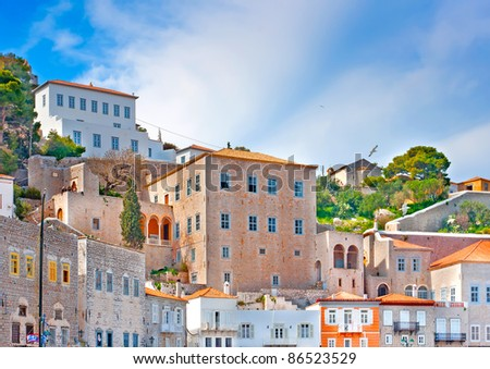 Old buildings in the town of island Hydra in Saronikos Gulf in Greece - stock photo
