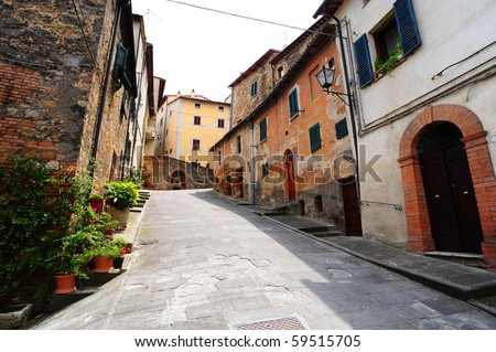 Old Buildings In Typical  Medieval Italian City