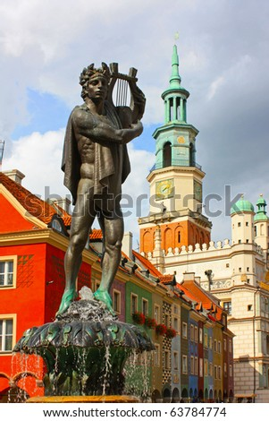 Old buildings, statue of Apollo in Poznan