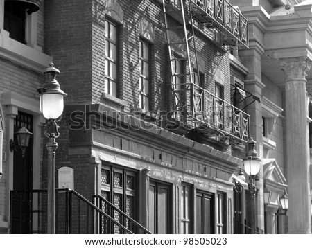 old buildings typical of the early 1920s and 1930s in the United States - stock photo