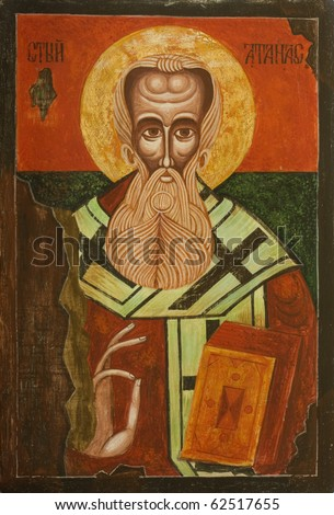Old Bulgarian Icon of Saint Athanasius the Great of Alexandria, one of the four Doctors of the Church. Greek patriarch of Alexandria who championed Christian orthodoxy against Arianism (293-373)