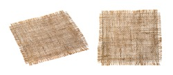Old burlap fabric napkin closeup. Rough linen jute, sackcloth piece isolated on white background with clipping path. Hessian texture cloth tag with frayed edges. Sack material