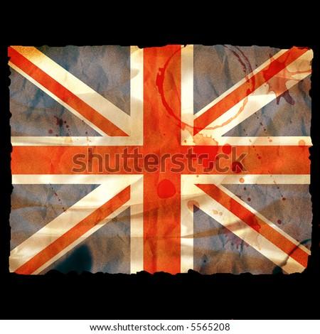 Old burned paper Union Jack - digital illustration