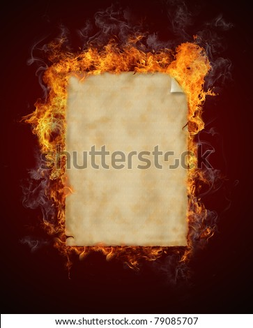 Old burning paper