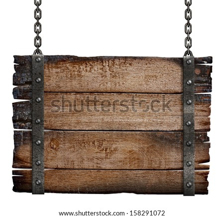 old burnt wood sign board on chain - stock photo