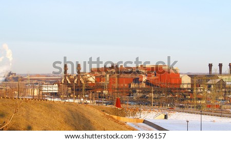 Old, but still working, steel mill in an industrial valley
