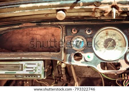 Old cabin, console in a vintage retro car. Retro toning vintage style image. #793322746