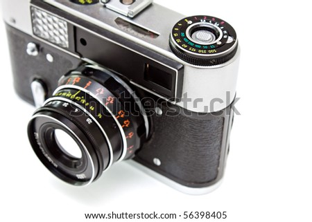 Old camera isolated on the white background.