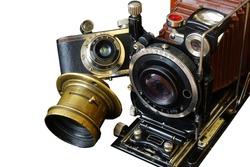 Old camera.Vintage camera on white isolated background.