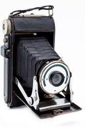 Old camera vintage on a white background