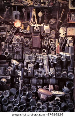 Old cameras in a marketplace
