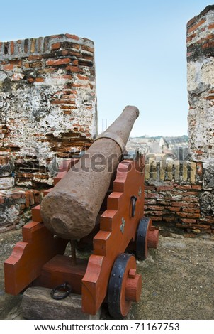 Old Cannon at San Felipe Fortress, Cartagena, Colombia